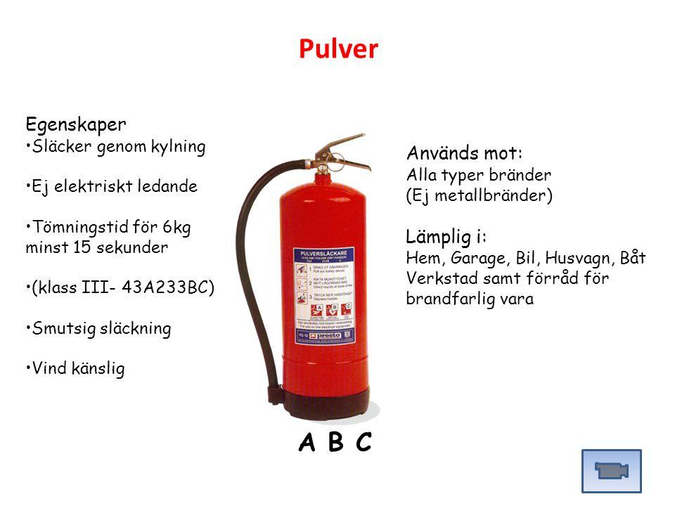 Pulver A B C Egenskaper Används mot: Lämplig i: Släcker genom kylning