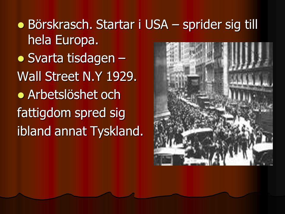 Börskrasch. Startar i USA – sprider sig till hela Europa.