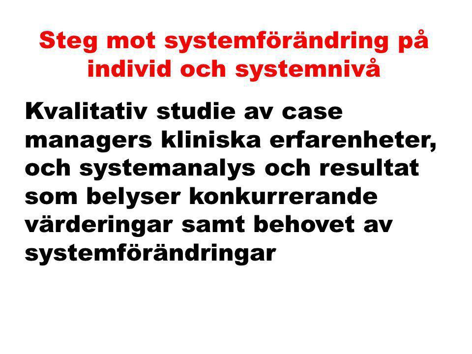 Steg mot systemförändring på individ och systemnivå