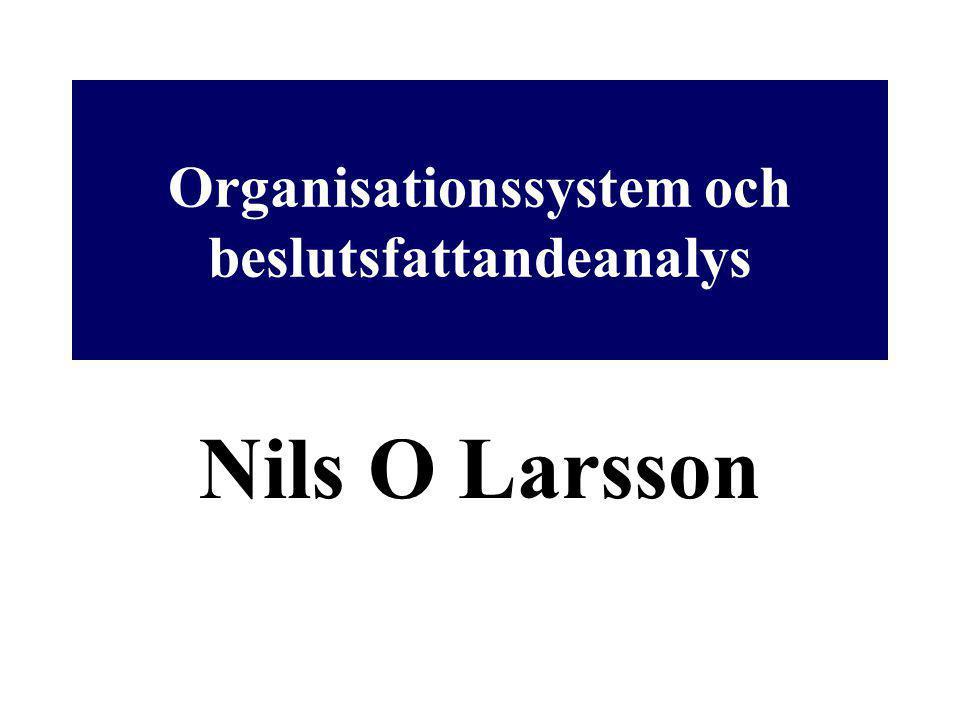 Organisationssystem och beslutsfattandeanalys