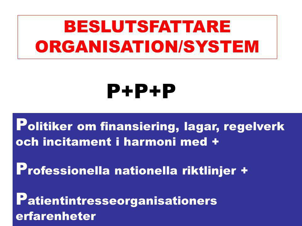 BESLUTSFATTARE ORGANISATION/SYSTEM