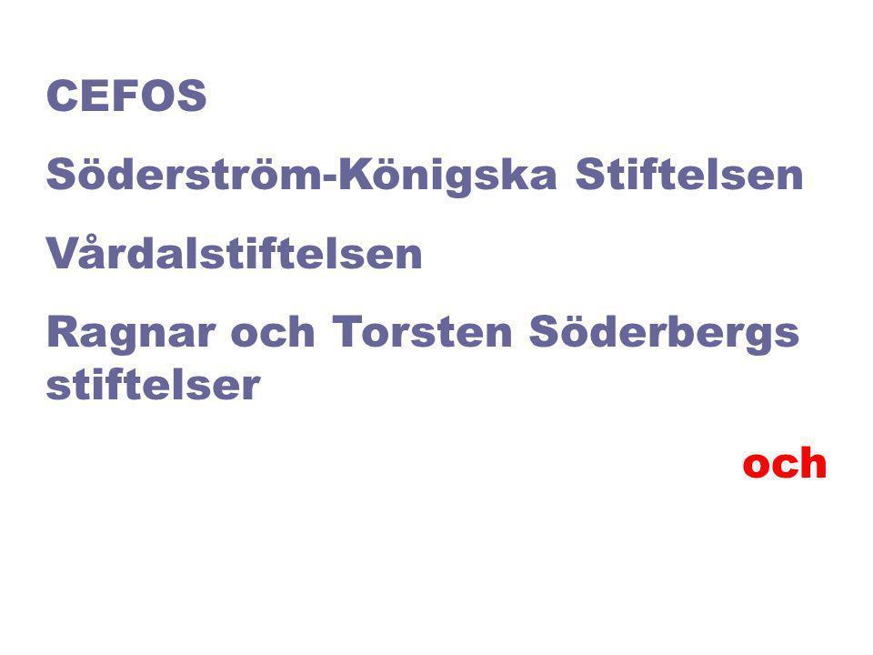 CEFOS Söderström-Königska Stiftelsen Vårdalstiftelsen Ragnar och Torsten Söderbergs stiftelser och