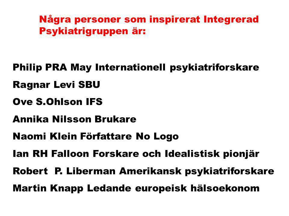 Några personer som inspirerat Integrerad Psykiatrigruppen är: