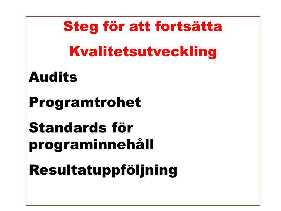 Steg för att fortsätta Kvalitetsutveckling. Audits. Programtrohet. Standards för programinnehåll.