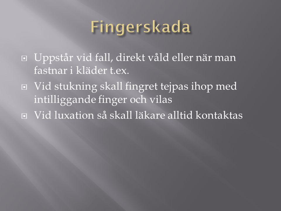 Fingerskada Uppstår vid fall, direkt våld eller när man fastnar i kläder t.ex.