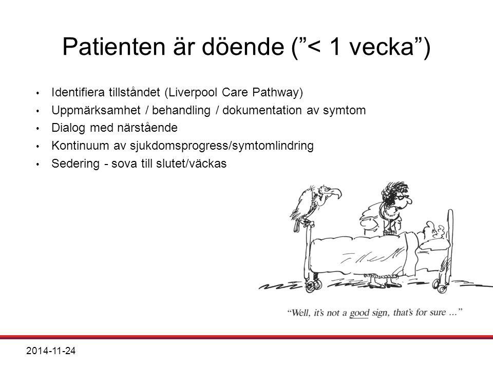 Patienten är döende ( < 1 vecka )