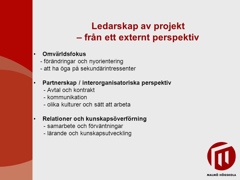 Ledarskap av projekt – från ett externt perspektiv