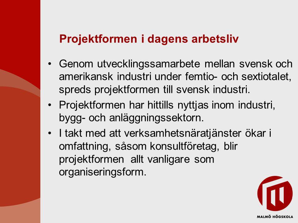 Projektformen i dagens arbetsliv