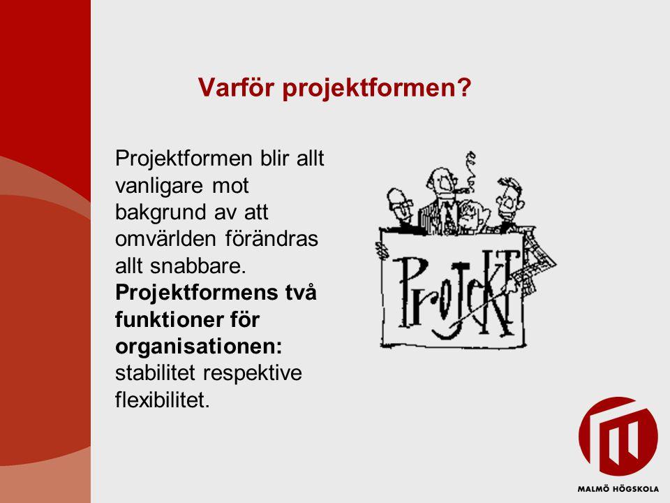 Varför projektformen Projektformen blir allt vanligare mot bakgrund av att omvärlden förändras allt snabbare.