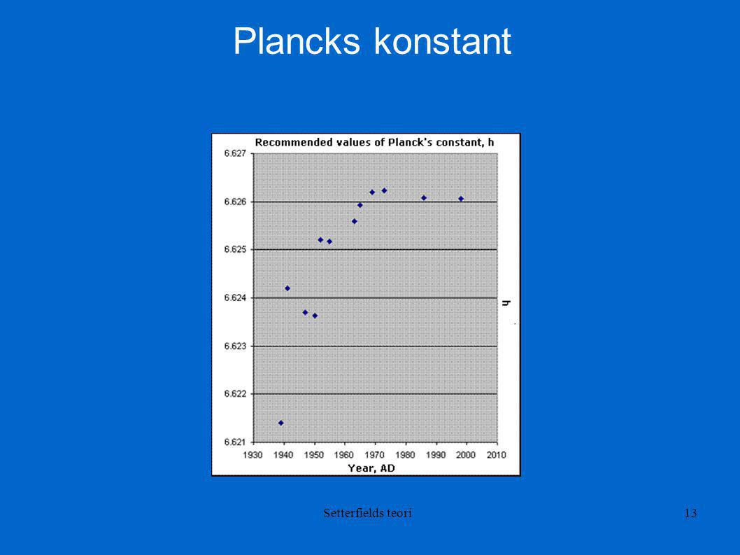 Plancks konstant Setterfields teori