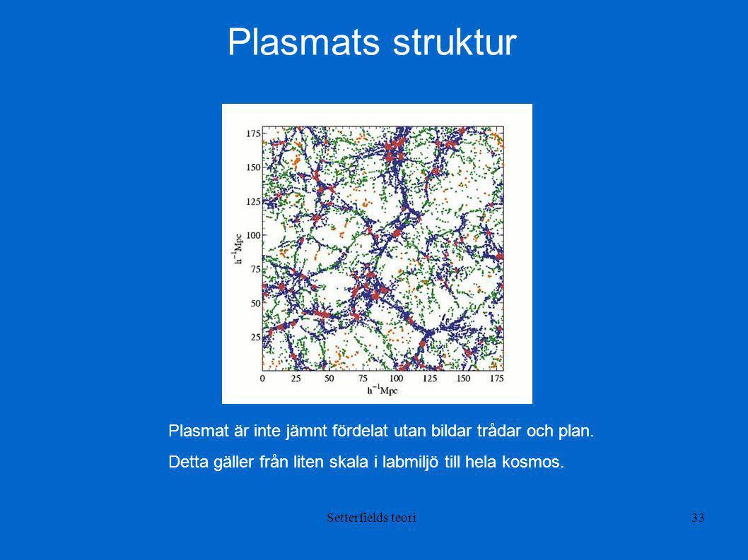 Plasmats struktur Plasmat är inte jämnt fördelat utan bildar trådar och plan. Detta gäller från liten skala i labmiljö till hela kosmos.