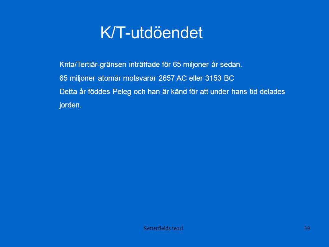 K/T-utdöendet Krita/Tertiär-gränsen inträffade för 65 miljoner år sedan. 65 miljoner atomår motsvarar 2657 AC eller 3153 BC.