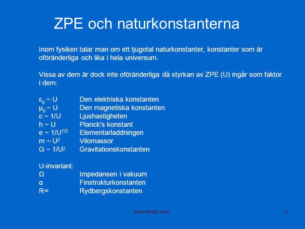 ZPE och naturkonstanterna