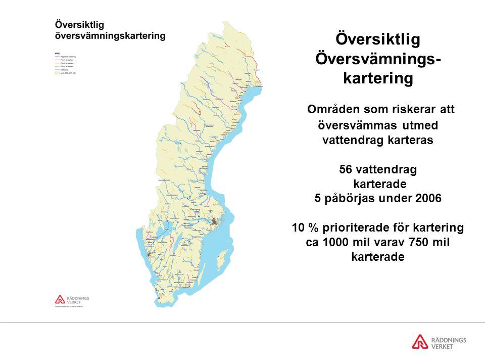 Översiktlig Översvämnings- kartering Områden som riskerar att översvämmas utmed vattendrag karteras 56 vattendrag karterade 5 påbörjas under 2006 10 % prioriterade för kartering ca 1000 mil varav 750 mil karterade