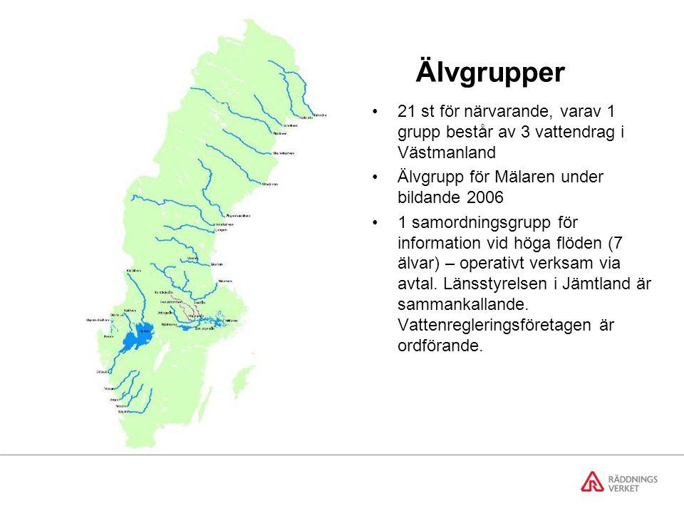 Älvgrupper 21 st för närvarande, varav 1 grupp består av 3 vattendrag i Västmanland. Älvgrupp för Mälaren under bildande 2006.