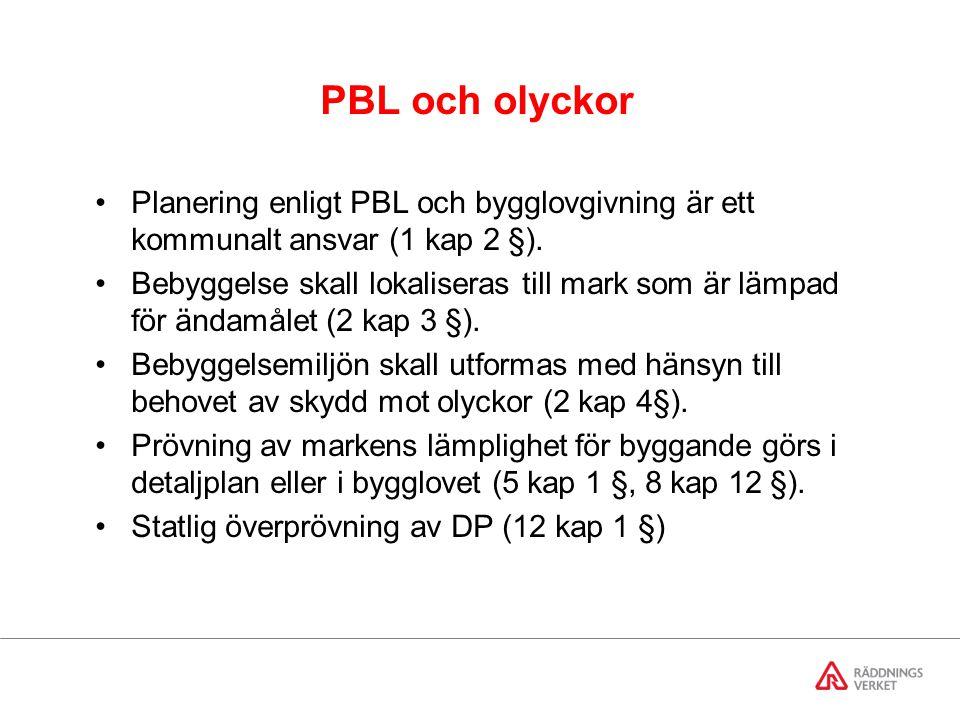 PBL och olyckor Planering enligt PBL och bygglovgivning är ett kommunalt ansvar (1 kap 2 §).