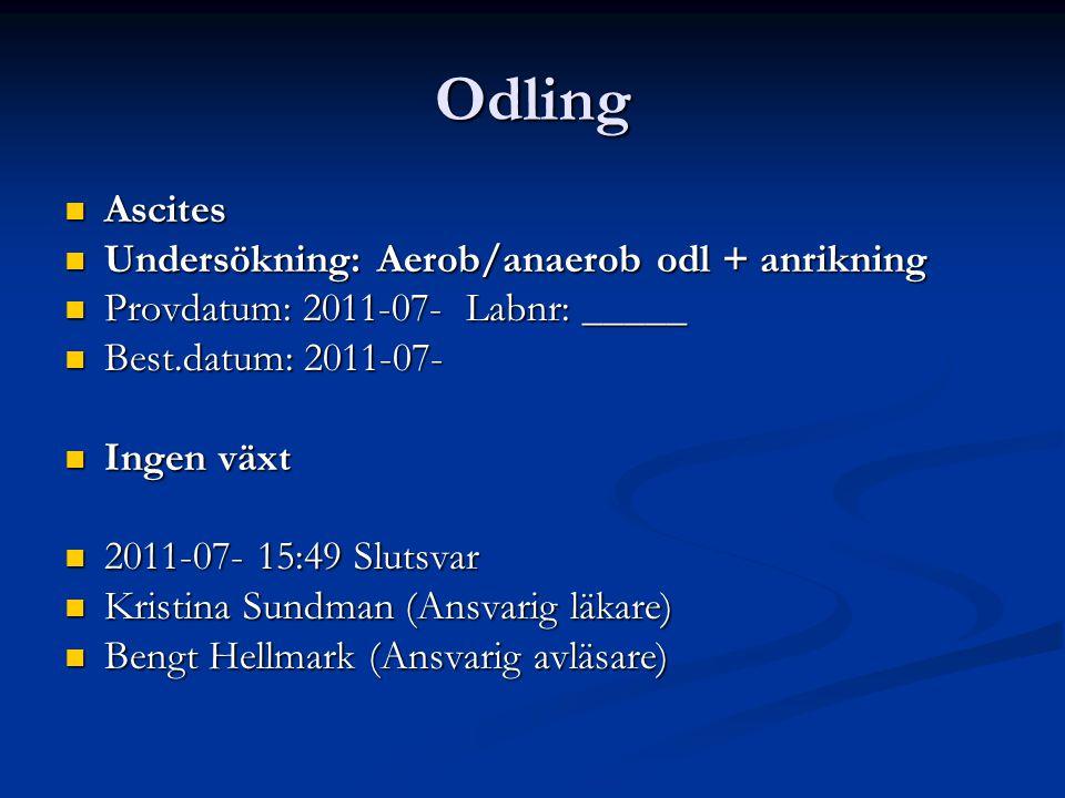 Odling Ascites Undersökning: Aerob/anaerob odl + anrikning