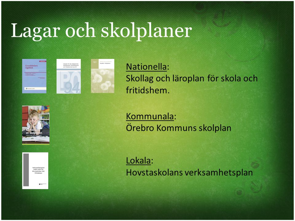 Lagar och skolplaner Nationella: Skollag och läroplan för skola och fritidshem. Kommunala: Örebro Kommuns skolplan.
