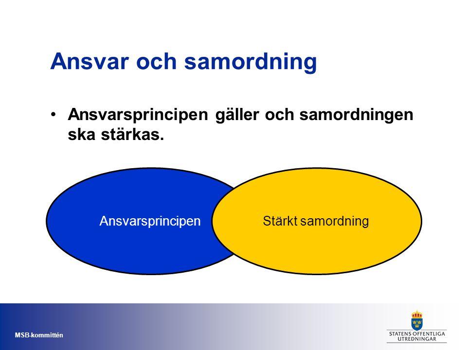 Ansvar och samordning Ansvarsprincipen gäller och samordningen ska stärkas.