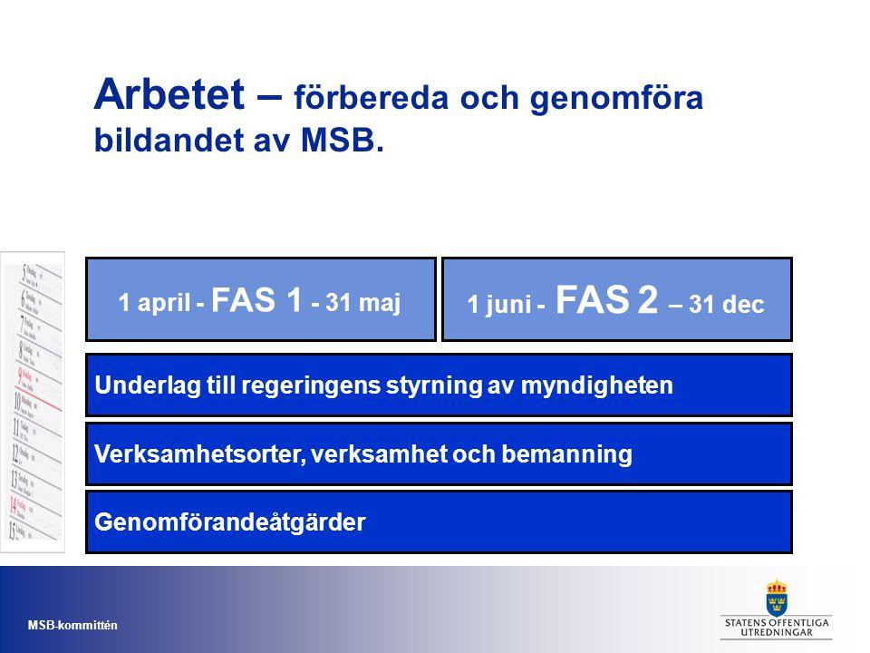 Arbetet – förbereda och genomföra bildandet av MSB.