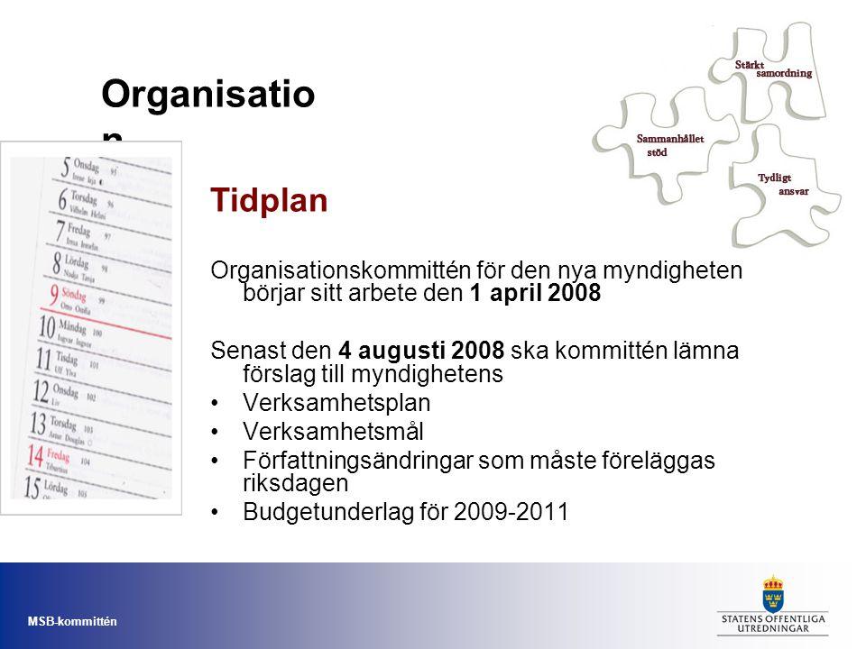 Organisation Tidplan. Organisationskommittén för den nya myndigheten börjar sitt arbete den 1 april 2008.