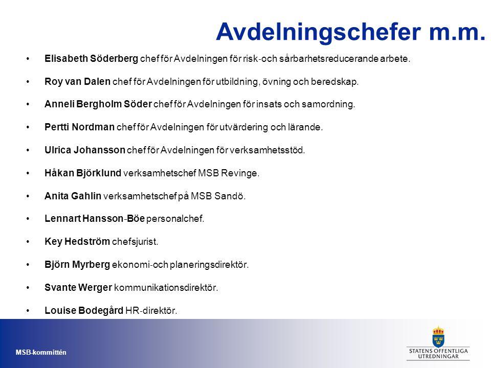 Avdelningschefer m.m. Elisabeth Söderberg chef för Avdelningen för risk‐och sårbarhetsreducerande arbete.