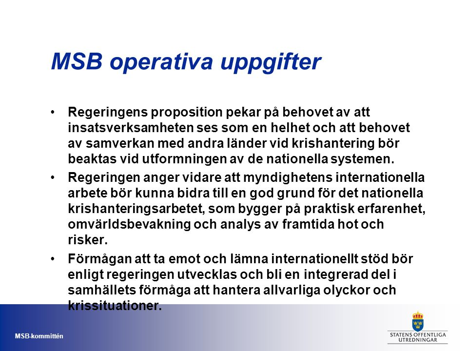 MSB operativa uppgifter