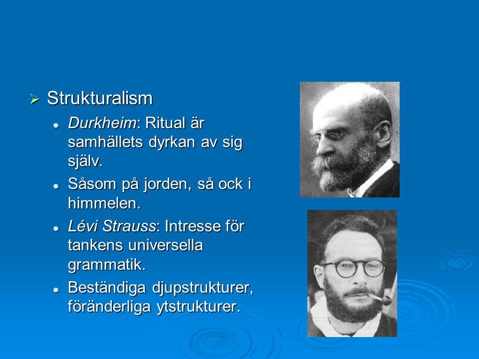 Strukturalism Durkheim: Ritual är samhällets dyrkan av sig själv.