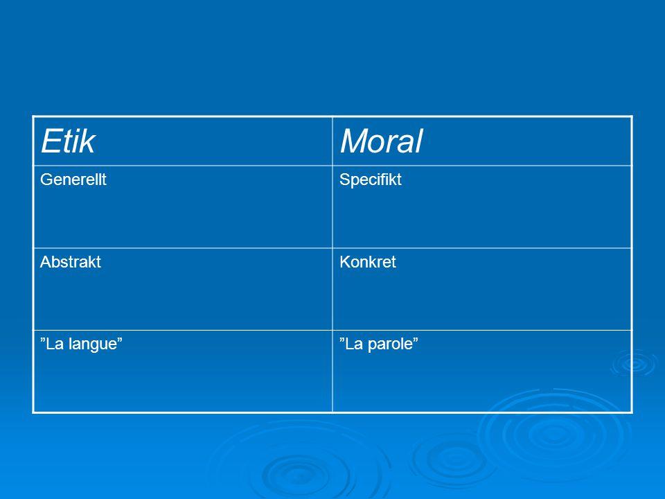 Etik Moral Generellt Specifikt Abstrakt Konkret La langue