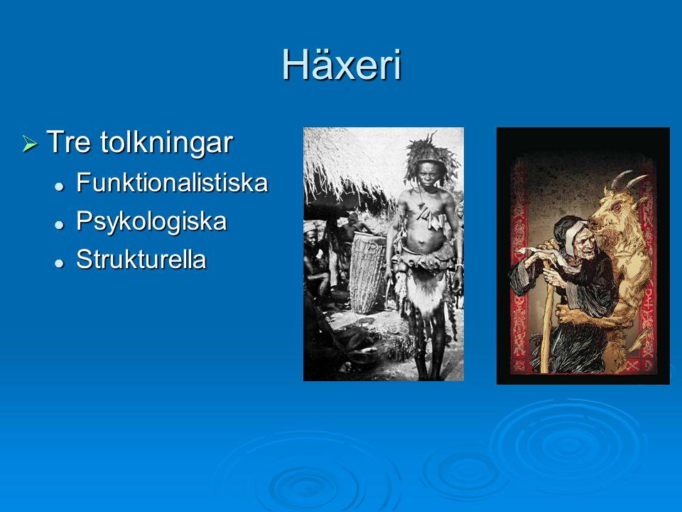Häxeri Tre tolkningar Funktionalistiska Psykologiska Strukturella