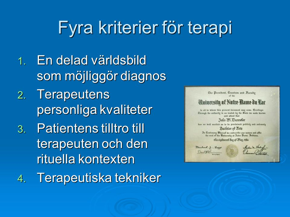 Fyra kriterier för terapi