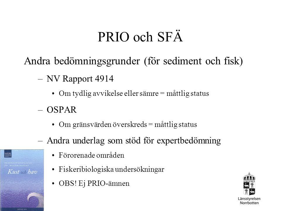 PRIO och SFÄ Andra bedömningsgrunder (för sediment och fisk)