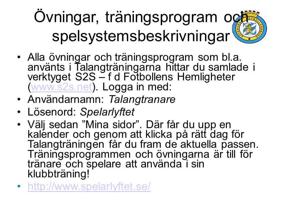 Övningar, träningsprogram och spelsystemsbeskrivningar