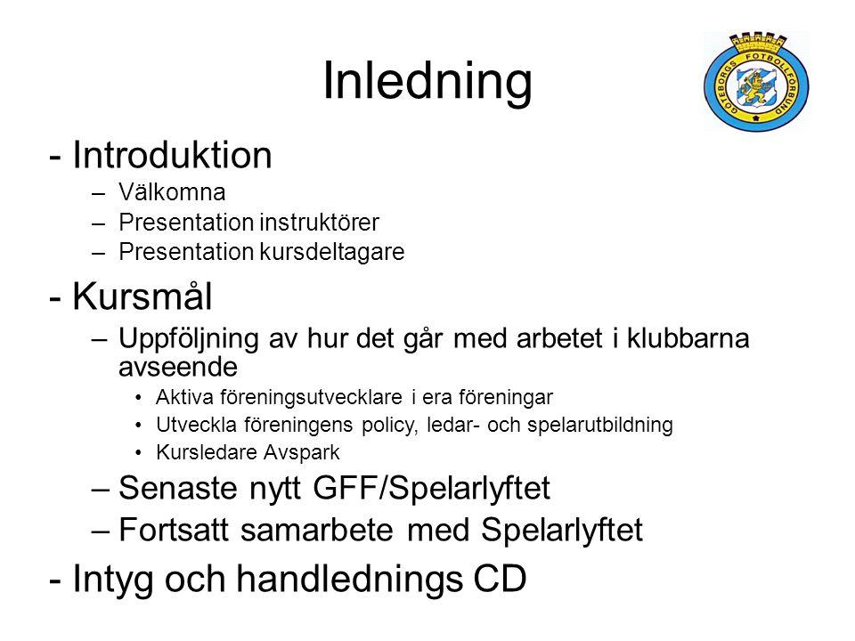 Inledning Introduktion Kursmål Intyg och handlednings CD