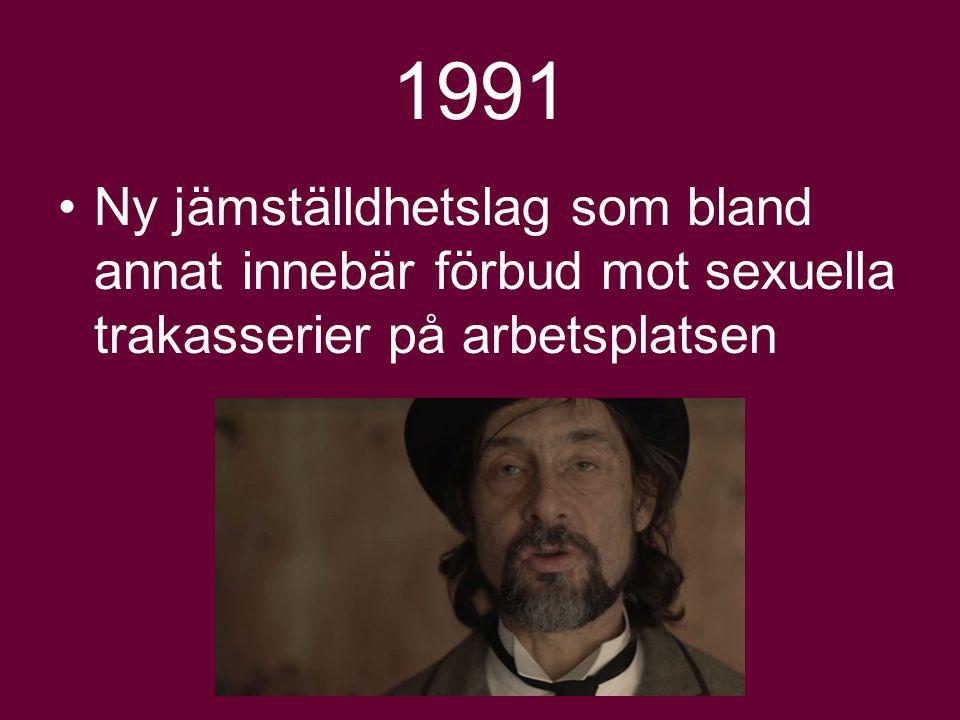 1991 Ny jämställdhetslag som bland annat innebär förbud mot sexuella trakasserier på arbetsplatsen