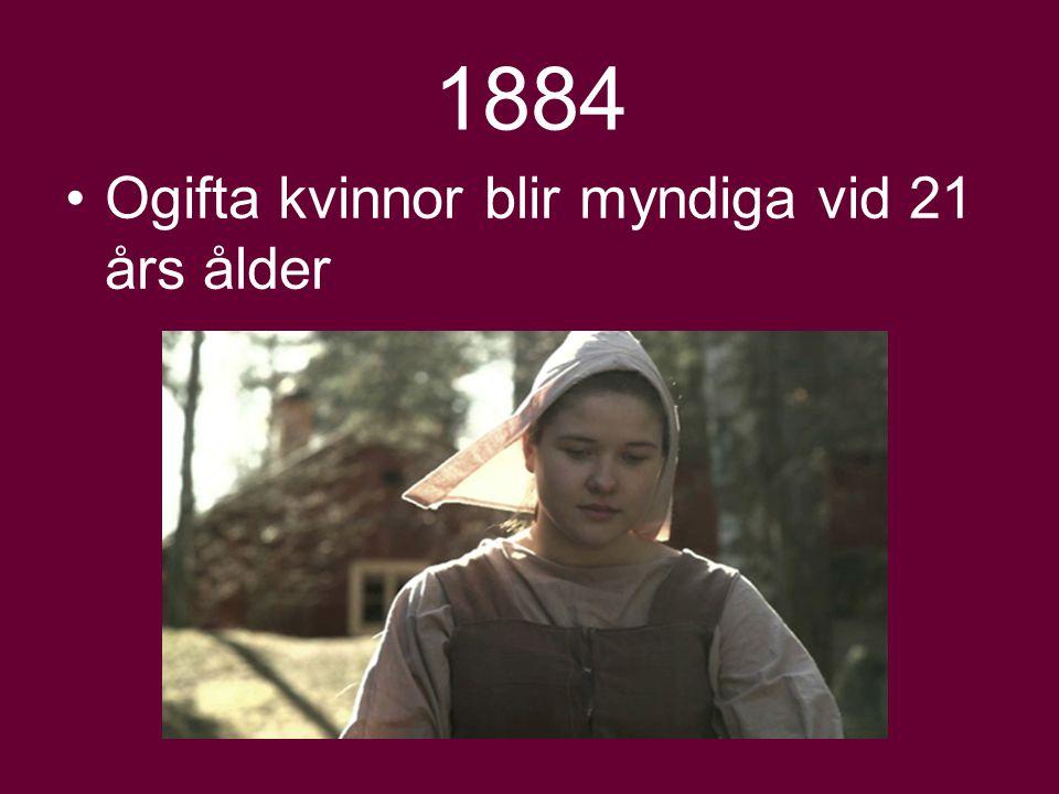 1884 Ogifta kvinnor blir myndiga vid 21 års ålder