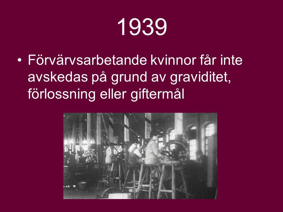 1939 Förvärvsarbetande kvinnor får inte avskedas på grund av graviditet, förlossning eller giftermål.