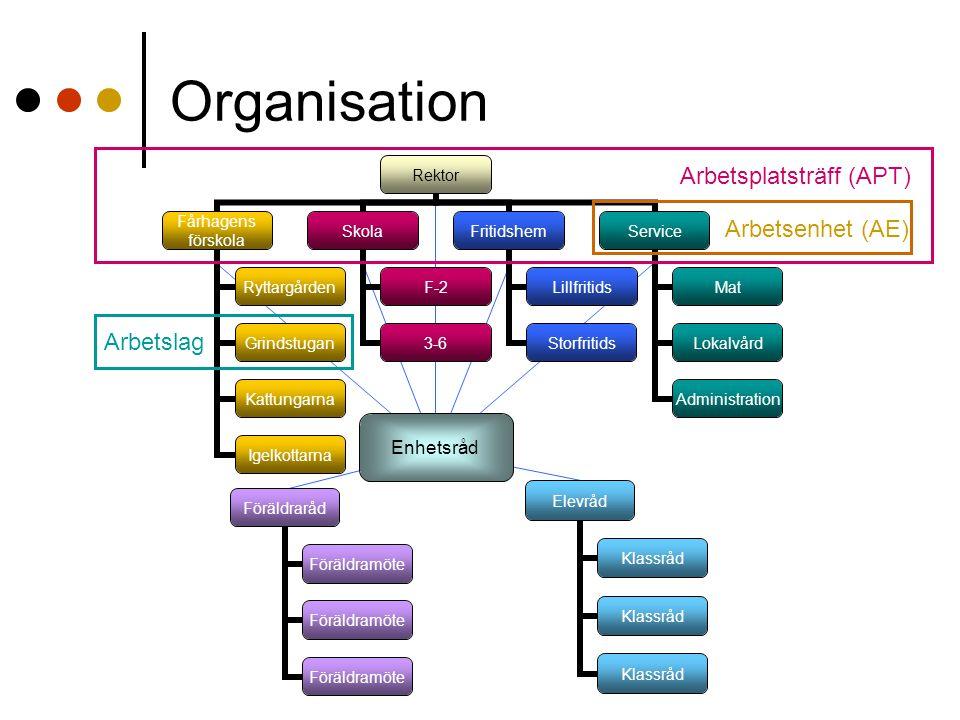 Organisation Arbetsplatsträff (APT) Arbetsenhet (AE) Arbetslag