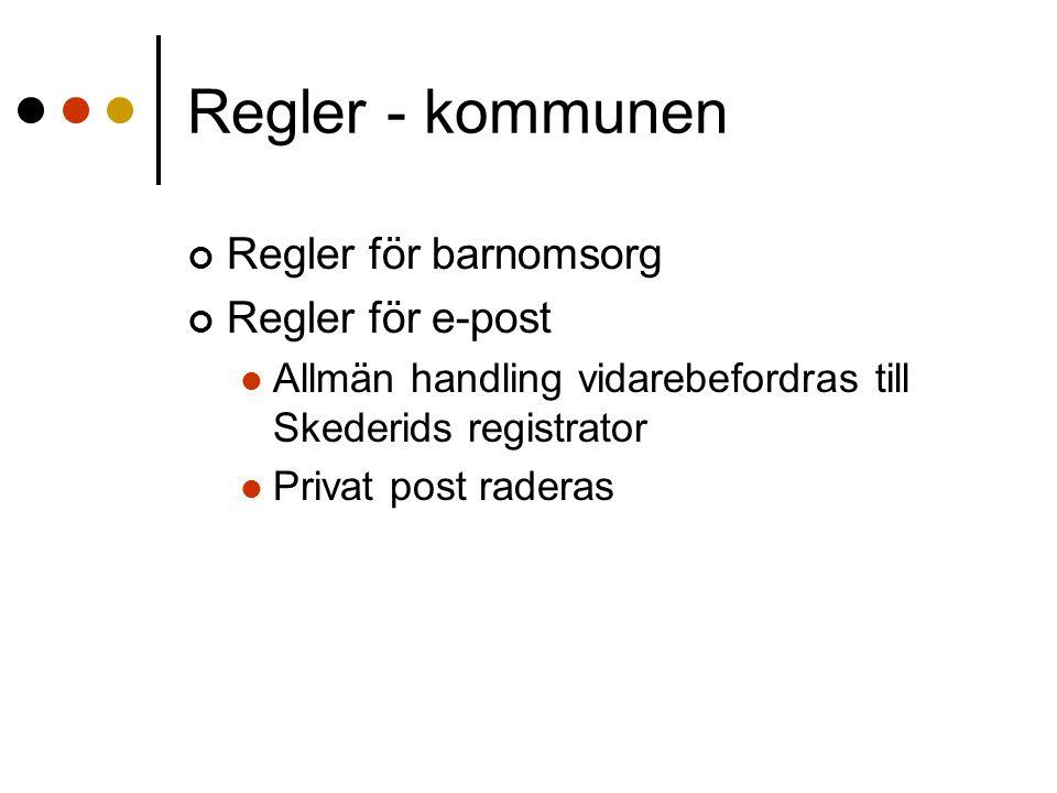 Regler - kommunen Regler för barnomsorg Regler för e-post