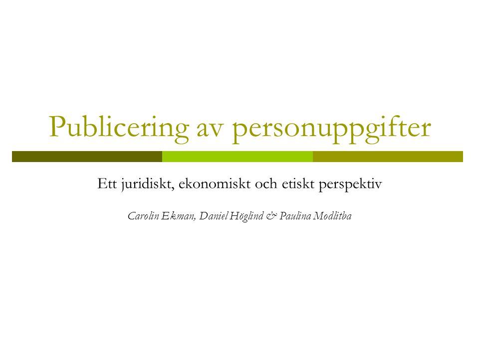 Publicering av personuppgifter