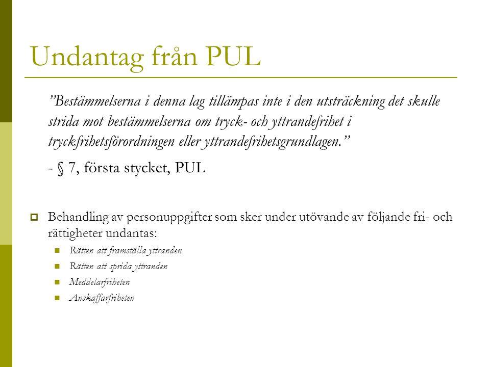 Undantag från PUL