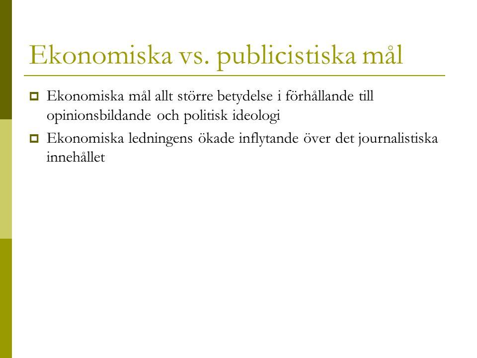 Ekonomiska vs. publicistiska mål