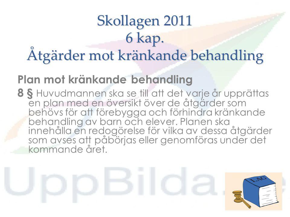Skollagen 2011 6 kap. Åtgärder mot kränkande behandling