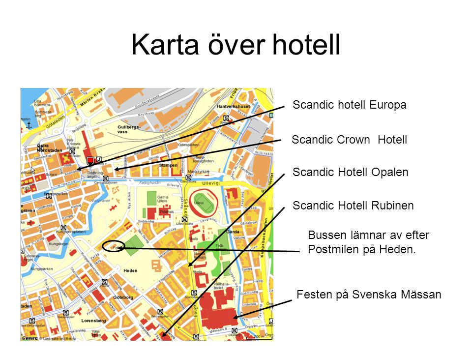 Karta över hotell Scandic hotell Europa Scandic Crown Hotell