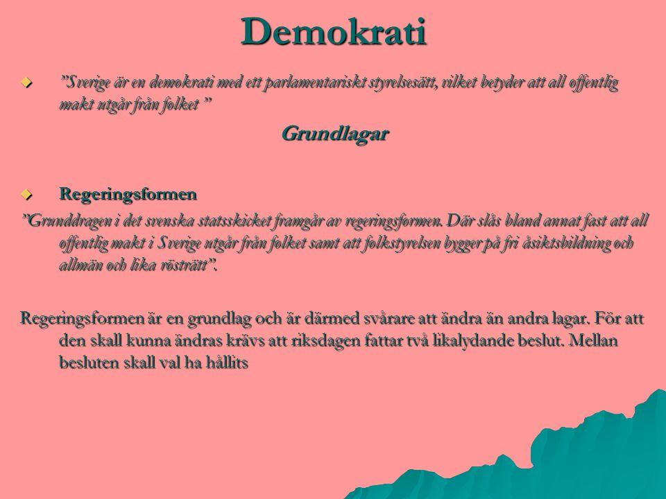 Demokrati Sverige är en demokrati med ett parlamentariskt styrelsesätt, vilket betyder att all offentlig makt utgår från folket
