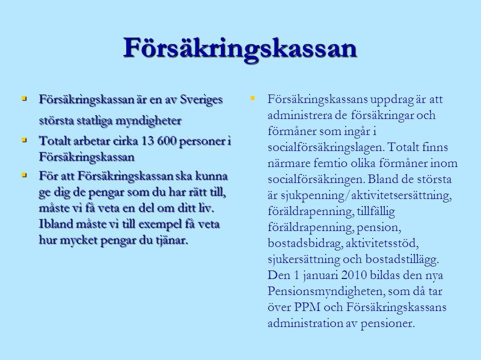 Försäkringskassan Försäkringskassan är en av Sveriges största statliga myndigheter. Totalt arbetar cirka 13 600 personer i Försäkringskassan.