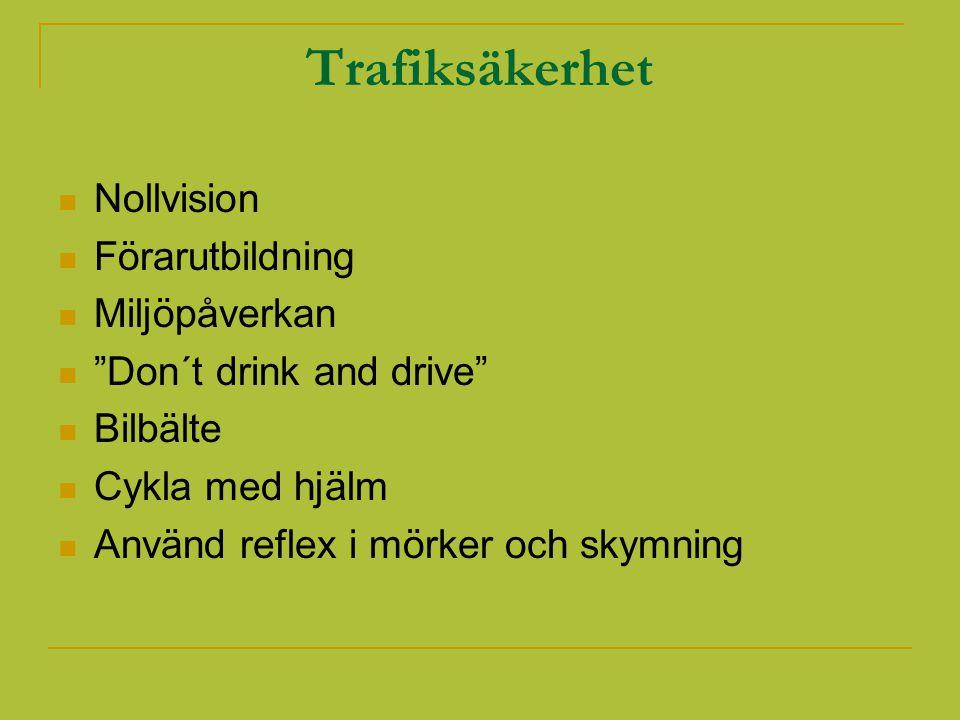 Trafiksäkerhet Nollvision Förarutbildning Miljöpåverkan