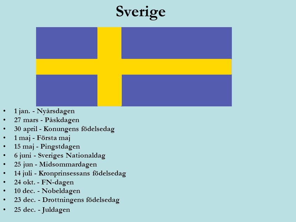 Sverige 1 jan. - Nyårsdagen 27 mars - Påskdagen