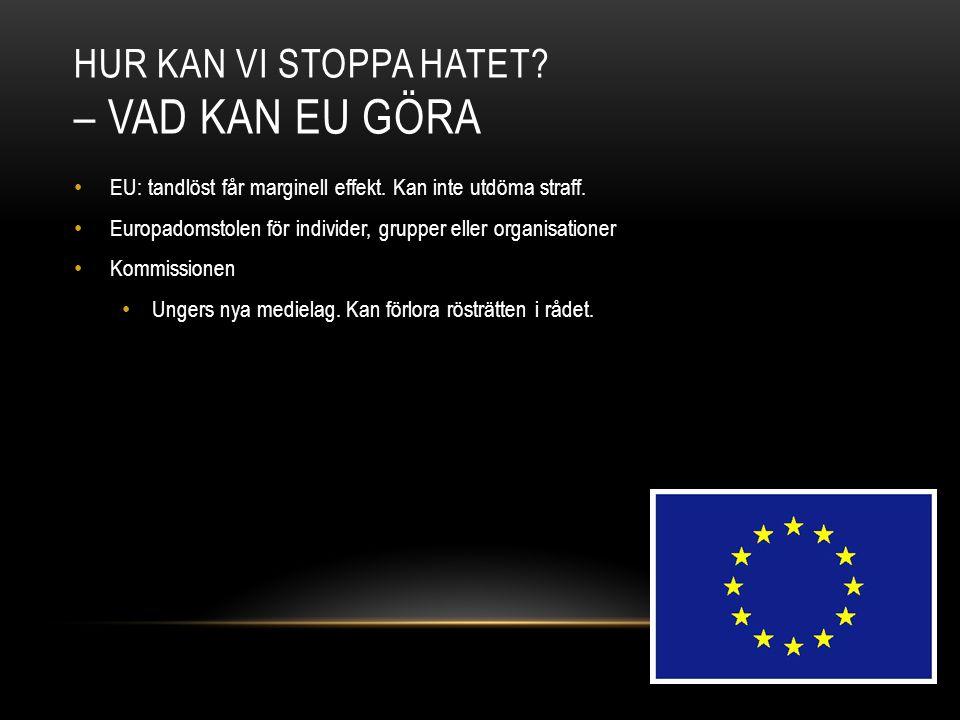 Hur kan vi stoppa hatet – Vad kan EU göra