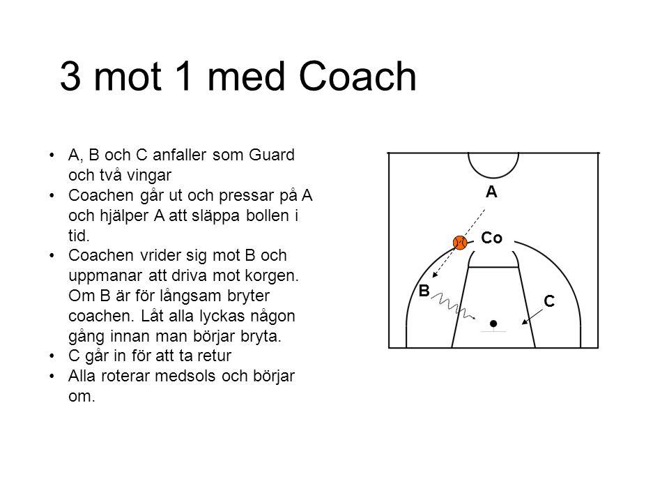 3 mot 1 med Coach A, B och C anfaller som Guard och två vingar